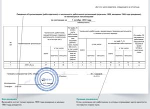 Отчет по форме 1 о численности сотрудников предпенсионного возраста