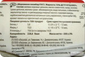 Состав советского мороженого по госту